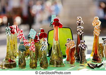 Grappa drink - Selection of grappa drink bottles at market ...