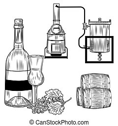 Grappa set on white background. Italian alcohol in style retro engraving bottle, glass, grapes, alembic. Vector vintage illustration.