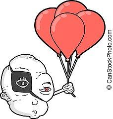 grappig gezicht, met, rood, ballons