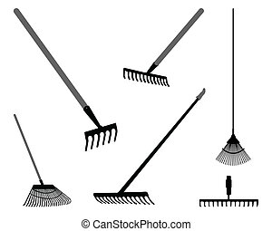 grapples - Black silhouettes of rake on a white background, ...