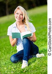 gras, boek, groene, lezende , mooi meisje, zit