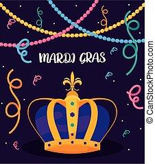 gras, collane, corona, vettore, mardi, disegno