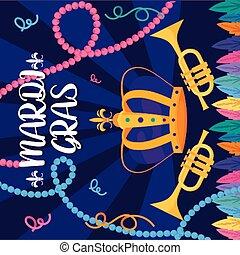 gras, corona, vettore, trombe, mardi, disegno
