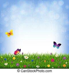 gras, en, bloemen