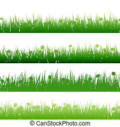 gras, en, planten, gedetailleerd, silhouettes., eps, tien