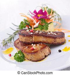 gras, foie, asado
