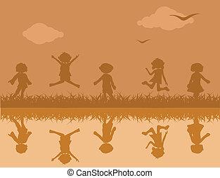 gras, kinderen, achtergrond