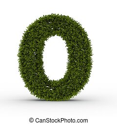 Gras letter O isolated on white background