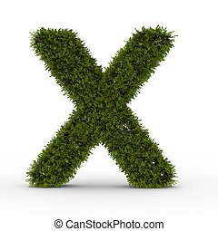Gras letter X isolated on white background