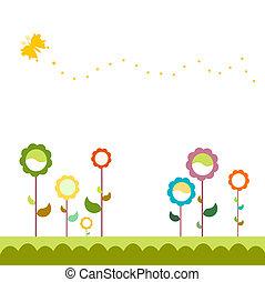 gras, met, bloemen, set,