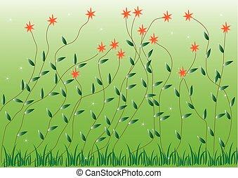 gras, met, bloemen, set, vector, illustratie