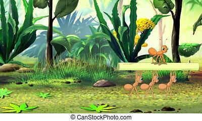 gras, mieren, verdragend, stengel
