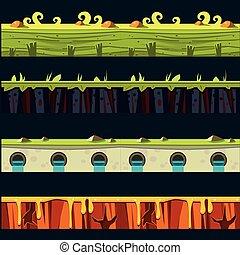 gras, platformer, niveau, vloer, ontwerp, set
