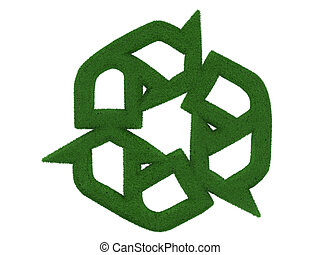gras, recyclend symbool, vrijstaand, op wit, achtergrond