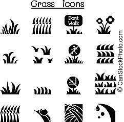 gras, set, pictogram