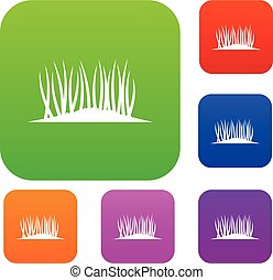 gras, set, verzameling, grond