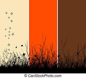 gras, silhouette, achtergrond