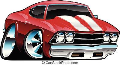 gras, voiture classique, dessin animé, illustration, américain, vecteur, muscle, rouges