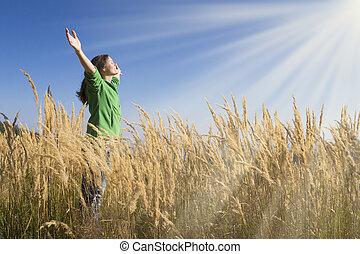 gras, vrolijke
