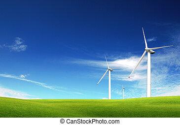 gras, zomer, windmolen, groen veld