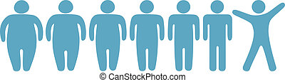 grasa, a, delgado, pérdida de peso, condición física, gente