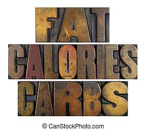 grasa, calorías, carbs