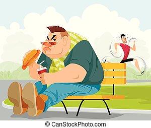 grasa, deportista, hombre