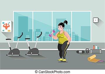 grasa, mujer, en el gimnasio