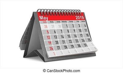 grasduinen, van, de, desktop kalender, op wit, achtergrond.,...