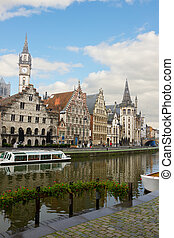 Graslei embankment in old town , Ghent