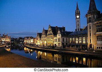 Graslei in Ghent, Belgium - Ghent, Belgium - Dec 3: Ghent, ...
