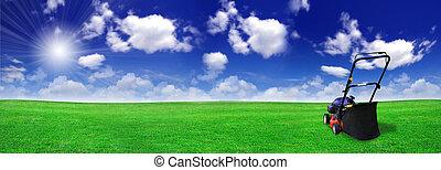 grasmaaimachine, op, groen veld