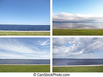 grass., セット, 空, 湖