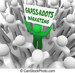 grass-, 根, 銷售, 運動, 地方, 做廣告, 口述的消息
