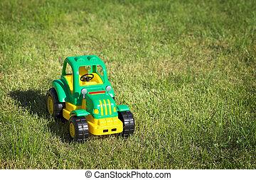 grass., 緑の黄色, トラクター, おもちゃ, 緑