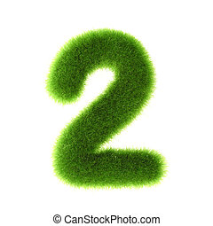 """Grass """"2"""" number, isolated on white background."""