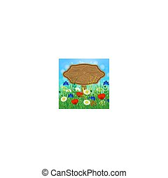 grass., akker, houten, summer., buitenreclame, hemel, verdoezelen