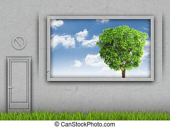 Grass amid the concrete wall with sky and tree in window