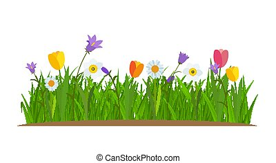 Grass and flowers border, greeting card decoration element White Background. Vector Illustration