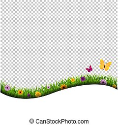 Grass And Flowers Border Isolated Transparent Background