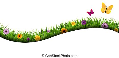 Grass And Flowers Border Isolated White Background