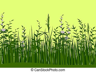 Grass and Flowers, Seamless