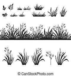 Grass and flowers silhouette, seamless and sets