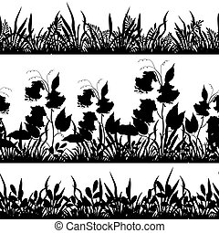 Grass and flowers silhouette, set