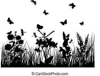 Vector grass silhouettes backgrounds with butterflies