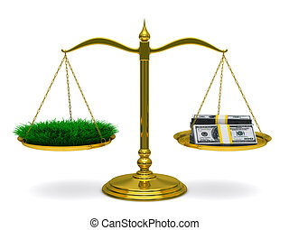 Grass and money on scales. Isolated 3D image