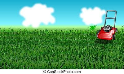 grass and mow - grass, mow and blue sky