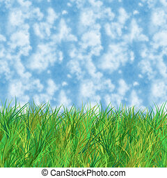 Grass and sky - Illustration of grass and blue sky with...