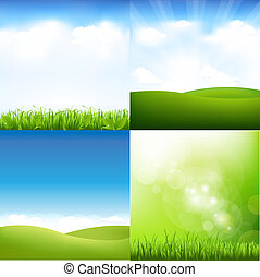 Grass And Sky Set - 4 Grass And Sky Set, Vector Illustration...