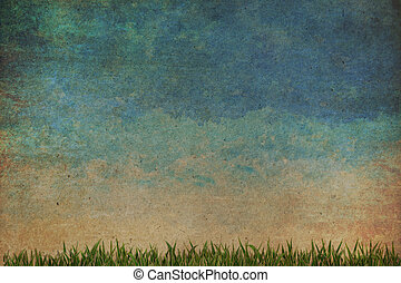 Grass and sky watercolor abstract background on old paper ,Vintage style